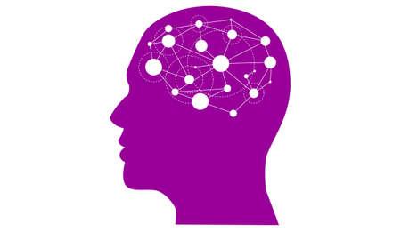 Illustratie op het hoofd met een netwerk van gedachten.