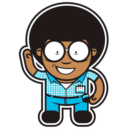nice smile: Comic character of nerd with afro. Illustration