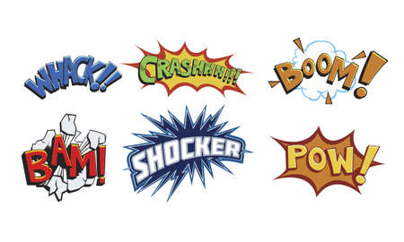 bam: Modern and eye-catching comic book action words. Illustration