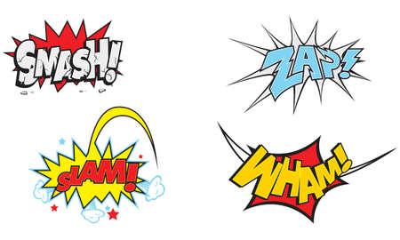 ka-boom, splatt, smash, slam, wham, zap, comic book, action, words, cartoon