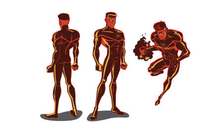 This vector illustration of a super hero has an insignia of an atom on his chest. His whole body and mask are red. There is a front, back and action pose.