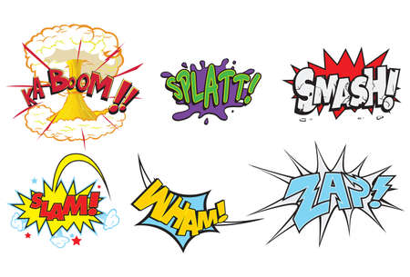 Comic Action Words  Illustrations of action words such as kaboom splatt smash slam wham zap comic book action words cartoo.