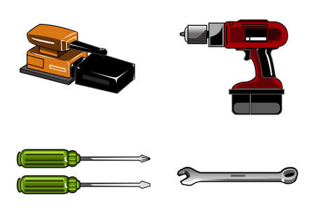 Gereedschap Illustraties van hulpmiddelen zoals boren schroevendraaier en rench. Vector door frankbrox