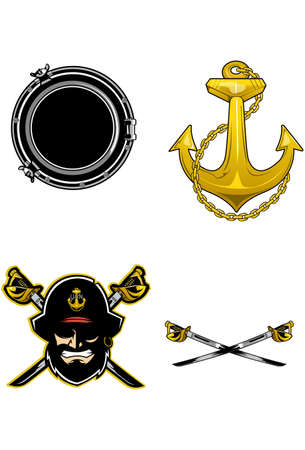 Pirate  Great design elements for any Navy design tattoo or marketing icons.