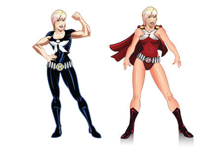 Instructor X  A female hero that can be used for comic book business decal and or mascot.