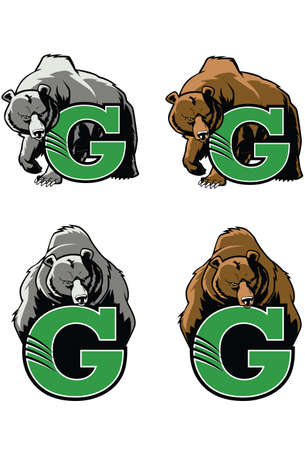 Grizzly  This Grizzly Bear design would be great for any High School or College sports team mascot. Çizim