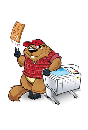 carver: Wood Chuck This woodchuck character has a laser carver machine to create custom designs. The Woodchuck design can be used with or without machine. Illustration
