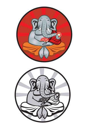 Elephant Monk An Illustration of an elephant dressed in monk attire. Çizim