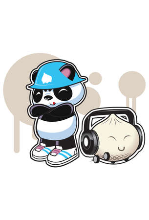 Old School Panda Panda illustration with hat and shoes and dumpling with ear phones and wheels.