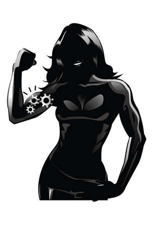 Strong Women Eyecatching very elegant and beautiful icon design with concept of silhouette of a women.
