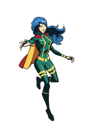 Hero girl has a costume with cape to fight crime