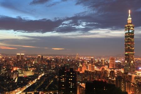 taipei: This is a night view of Taipei 101 Stock Photo