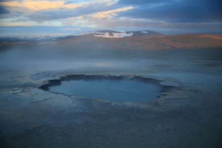 Iceland landscape Hveravellir geothermal area, area of fumaroles, and multicoloured hot pools