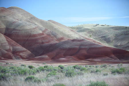 Painted Hills in the John Day Fossil Beds National Monument at Mitchell City, Wheeler County, Northeastern Oregon, USA Stock Photo