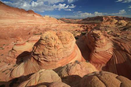 Rock formations in the North Coyote Buttes, part of the Vermilion Cliffs National Monument. This area is also known as The Wave Imagens - 120786137