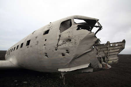 Black and white picture of the crashed DC-3 airplane at the beach of Sandur at Iceland Stock Photo