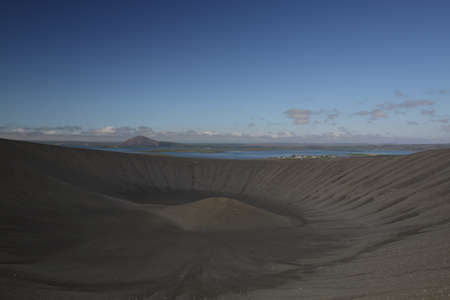 A view of the Hverfjall Volcanic Crater in Iceland