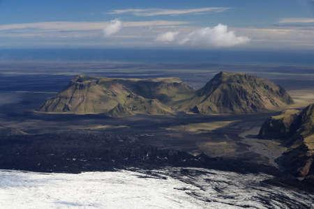 Krossarjokull Glacier, Myrdalsjokull Ice cap, from above, Iceland