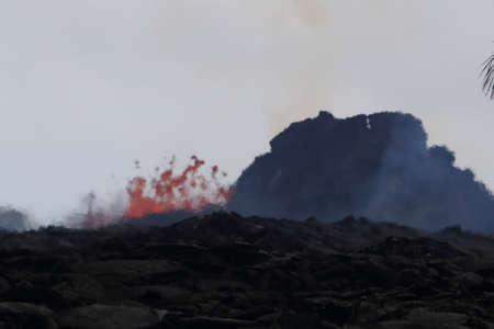 Aerial view of the eruption of the volcano Kilauea on Hawaii, in the picture Fissure7 you can see the enormous heat in the air.