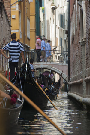 gondoliers: Venetian Traffic Jam Stock Photo