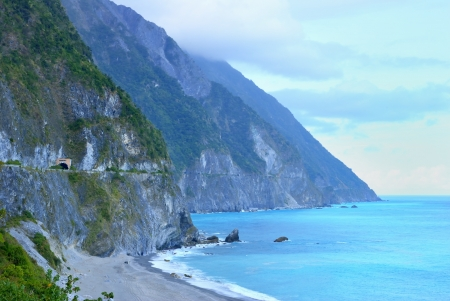 Chingshui Cliff on the Su-Hua Highway in Hualien county, Taiwan  February 3, 2009   Stock Photo - 15483469