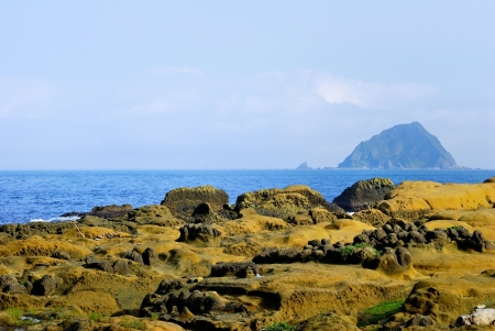 telephoto: Telephoto the view of Keelung Island from Peace Island Geological Park of Keelung City, Taiwan  Nov  6, 2008  Stock Photo
