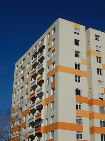 dwell house: Block of flats with energy saving wall insulation Stock Photo