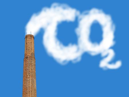 dioxido de carbono: chimenea de ladrillos de fábrica con emisión simbólica de un co2