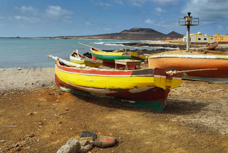 Fishing boats in Cape Verde, Sao Pedro on the Sao Vicente island. Stock Photo