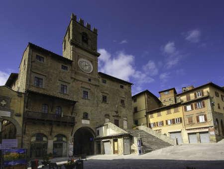 Main square, Cortona, Tuscany Фото со стока