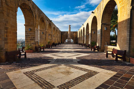 Vallettas most beautiful park, already 1775 on the bastion of St. Peter and Paul created, is the highest and most impressive point of the city walls and offers a magnificent view over the Grand Harbou Stock Photo