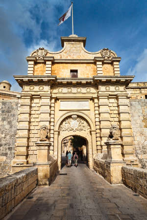 Main entrance to walled city of Mdina, Malta Stock Photo