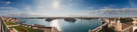 Panorama of Valletta harbour, Malta seen from the old bastions Stock Photo - 8198472