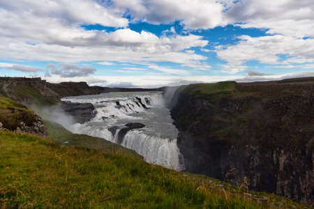 Gullfoss big and beauty waterfall in Iceland photo