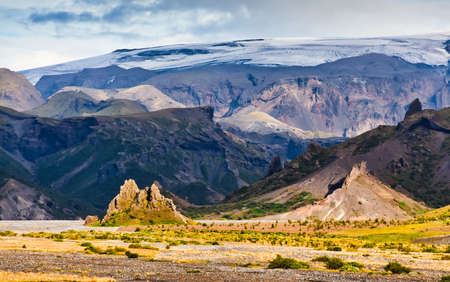 Thormork, Iceland, with the clacier Myrdalsjokull in the background Stock Photo