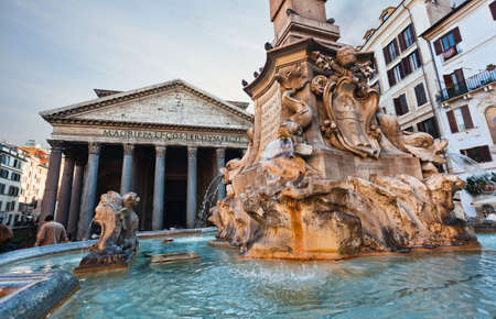 Pantheon from the outside with fountain in front