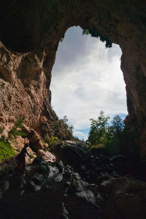 natural bridge state park: Looking through a section of the natural bridge at Tonto Natural Bridge State Park. Stock Photo