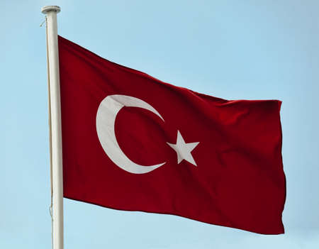 symbolic: Flag of Turkey with flag pole waving in the wind