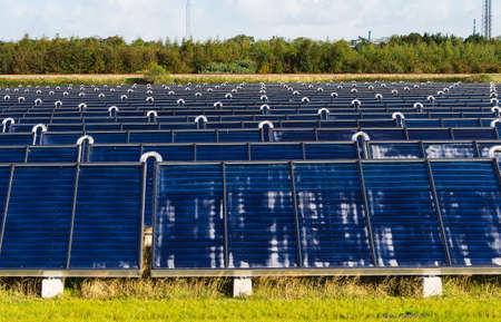 producing: Solar heating plant producing hot water for power and house heating