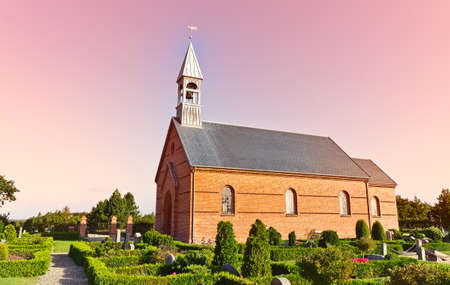 Minimalistic Danish church in Mosevraa on the heather Stock Photo - 10667547