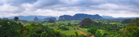 The beautiful Vinales Valley in Cuba.  Stock Photo