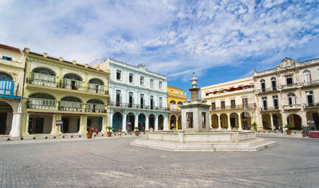 Panorama of Old Havana plaza Vieja with colorful tropical buildings, Havana ,Cuba