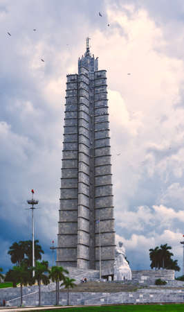 Revolution Square and the Jose Marti Monument in Havana, Cuba with a beautiful sky