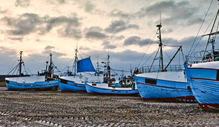 jutland: Coastal Fishing boats at the beach of Thorup, Denmark