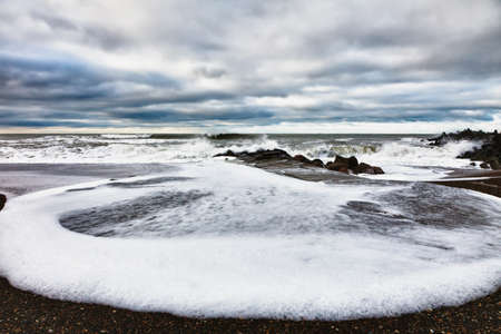 jutland: Emerging storm at Thyboron Beach, Denmark