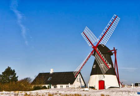 Windmill on Mando in the wadden sea, Ribe, Denmark