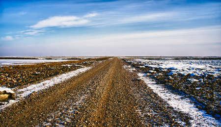 wadden: Wadden sea road to the island Mando, Denmark Stock Photo