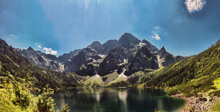 Morskie Oko is the largest and fourth deepest lake in the Tatra Mountains  It is located in the Lesser Poland Voivodeship  Standard-Bild