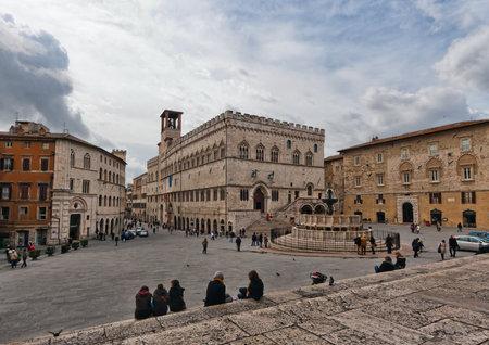 Perugia  Main square with the Maggiore fountain Editorial