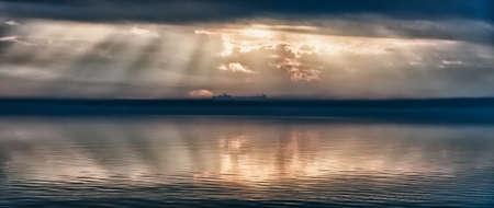 Lake Trasimeno, Umbria, Italy with Castiglione in background photo